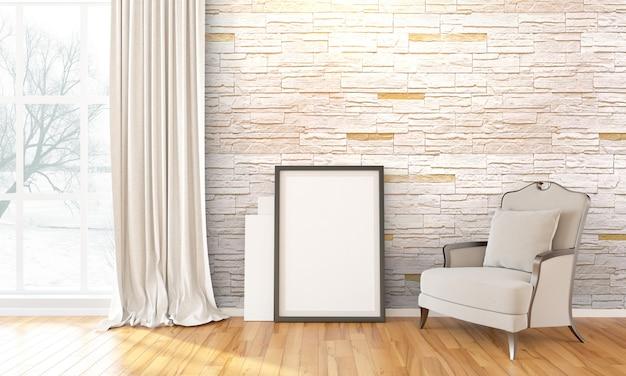 Interior moderno y luminoso con marco de fotos en blanco