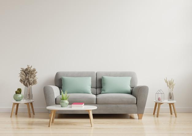 El interior moderno y luminoso de la sala de estar tiene un sofá y una lámpara con pared blanca.