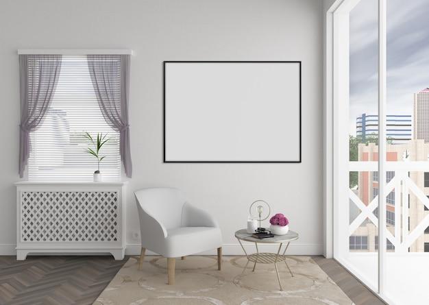 Interior moderno con marco de fotos en blanco horizontal o marco de ilustraciones, maqueta interior