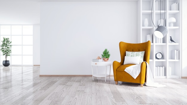 Interior moderno y minimalista de la sala de estar.