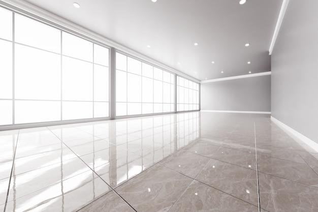 Interior moderno oficina vacía con grandes ventanas.