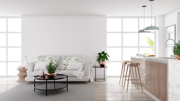 Interior moderno de la sala de estar y cocina de mediados de siglo