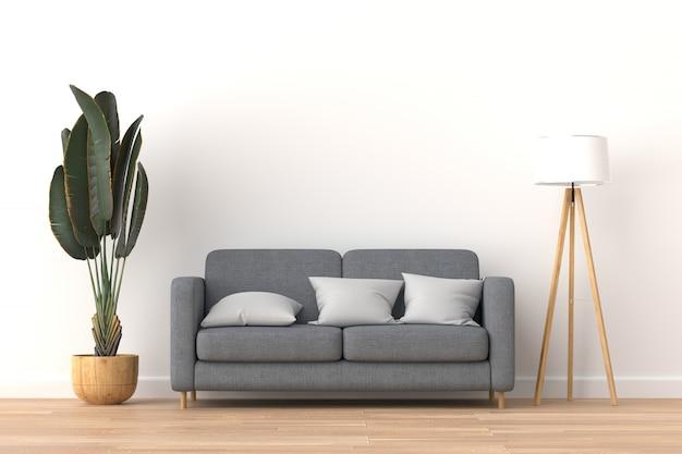 Interior moderno de la sala de estar, representación 3d