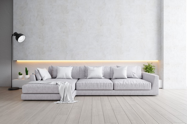 Interior moderno de la sala de estar, sofá gris con lámpara negra en pisos de madera y pared blanca, render 3d
