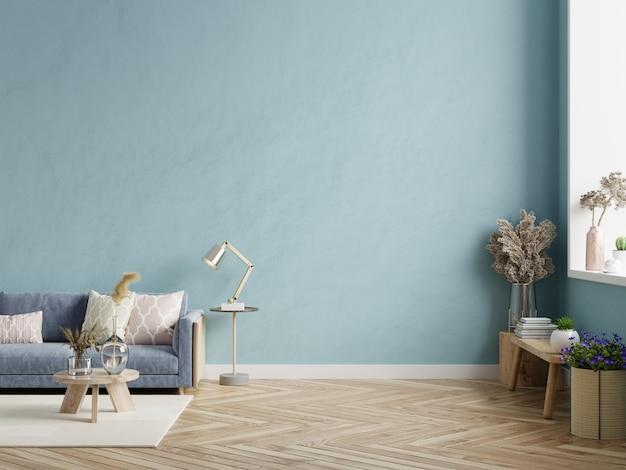 Interior moderno de la sala de estar con sofá oscuro en la pared azul. representación 3d
