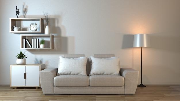 Interior moderno de la sala de estar con sofá y plantas verdes, lámpara, mesa estilo zen.