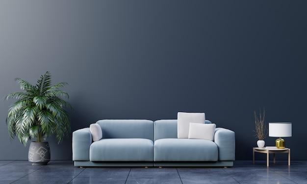 Interior moderno de la sala de estar con sofá y plantas verdes, lámpara, mesa en la pared oscura