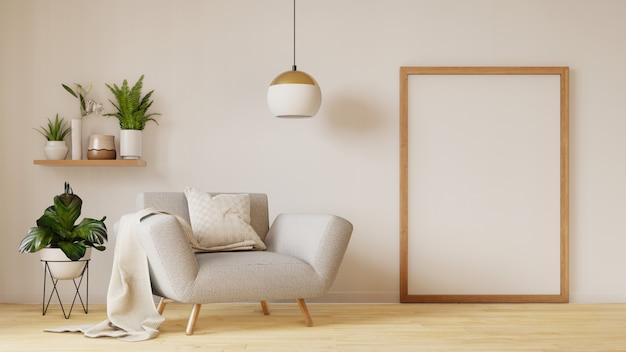 Interior moderno de la sala de estar con sofá y plantas verdes, lámpara, mesa en la sala de estar