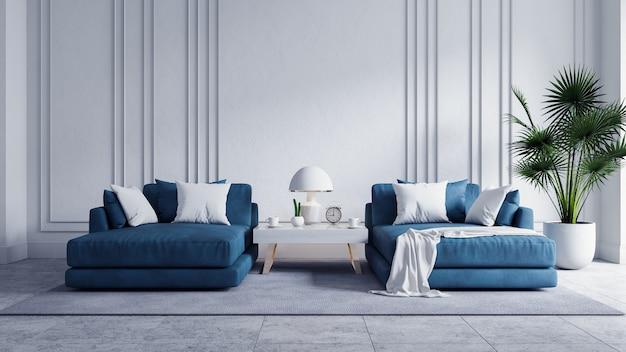 Interior moderno de la sala de estar vintage, sofá azul con paredes blancas y piso de concreto, render 3d