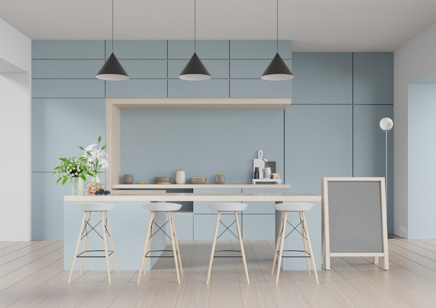 Interior moderno del sitio de la cocina, sitio moderno del restaurante, interior moderno de la cafetería en fondo azul de la pared. render 3d