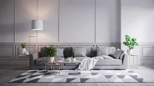 Interior moderno vintage de sala de estar, sofá gris y mesa de café sobre alfombra gris y pared blanca, render 3d