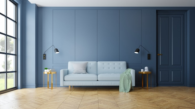 Interior moderno vintage de sala de estar