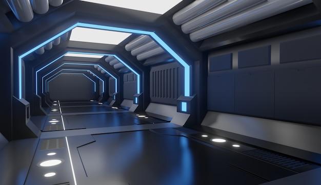 Interior de la nave espacial de la representación 3d con la luz azul