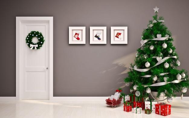 Interior de navidad con árbol de navidad