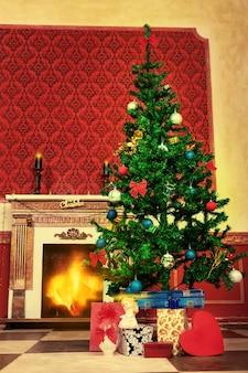 Interior navideño vintage sensacional con un ángel en el frente