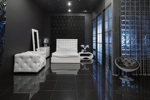 Interior negro de lujo oscuro moderno con muebles elegantes blancos