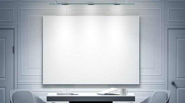 Interior de oficina blanco con maqueta de banner en blanco en la pared