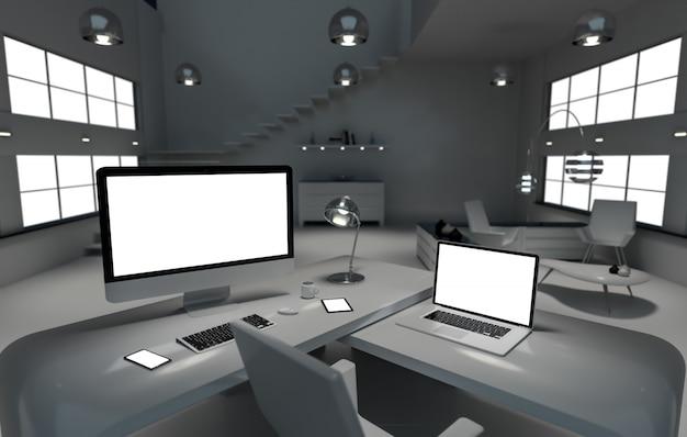 Interior de la oficina del escritorio oscuro moderno con computadora y dispositivos de representación 3d