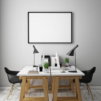 Interior de la oficina con muebles, espacio de trabajo y marco en blanco.