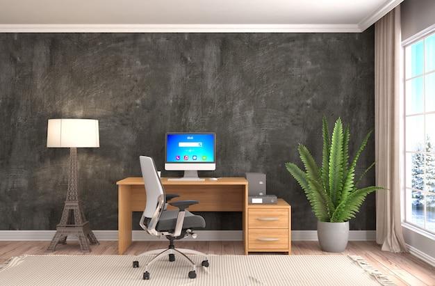 Interior de la oficina, rendido, ilustración