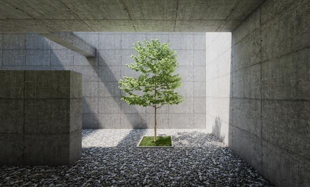 Interior de patio de concreto con piso de cantos rodados, árbol en el centro. renderizado 3d
