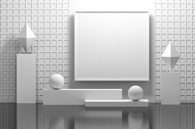 Interior con pedestales para cuadros y formas geométricas.