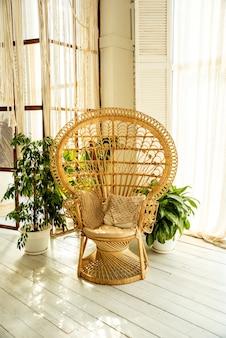 Interior plano blanco con silla de mimbre y plantas en macetas alrededor