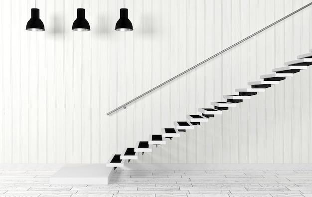 Interior de la sala blanca con escalera y lámparas de techo en decoración moderna y minimalista, renderizado 3d