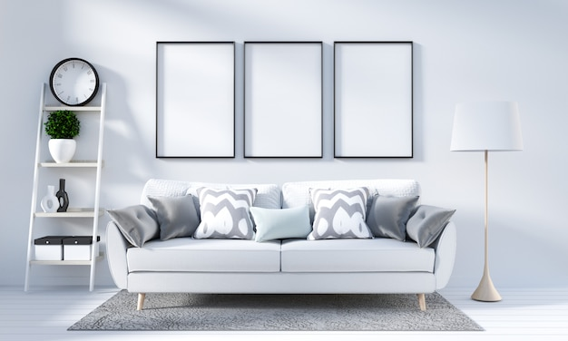 Interior de la sala blanca en estilo escandinavo. representación 3d