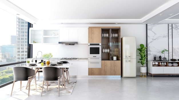 Interior de sala de cocina con estilo contemporáneo moderno
