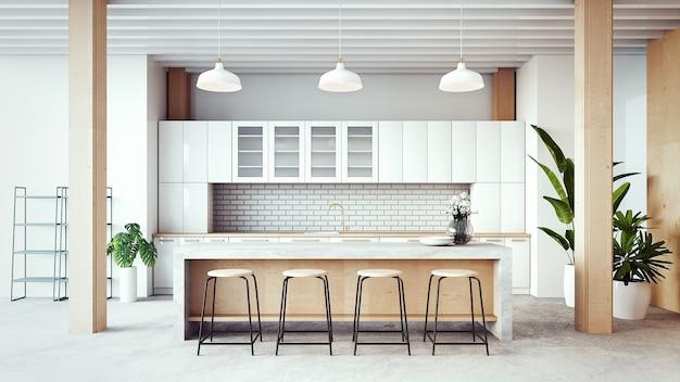 Interior de la sala de cocina de loft / representación 3d