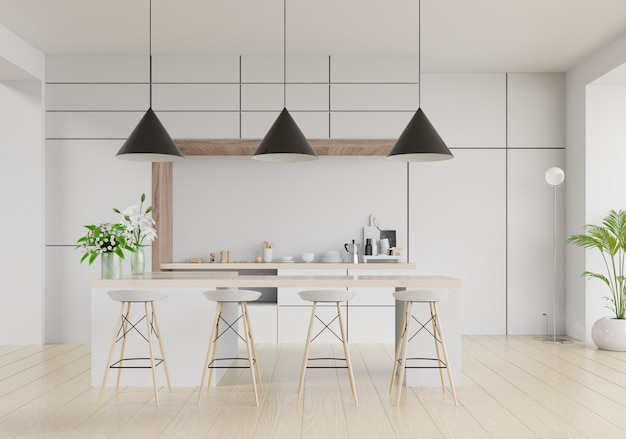 Interior de sala de cocina moderna