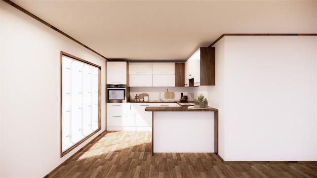 Interior de sala de cocina vintage estilo japonés