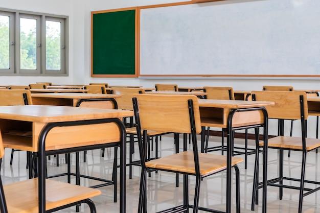 Interior de la sala de conferencias o aula vacía de la escuela con escritorios y sillas
