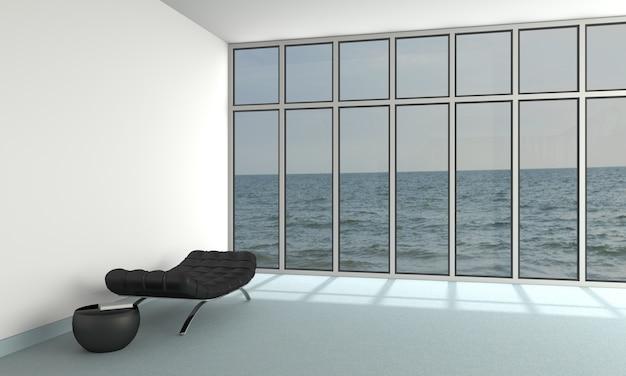Interior de sala de estar de 3d vista al mar en casa de playa moderna