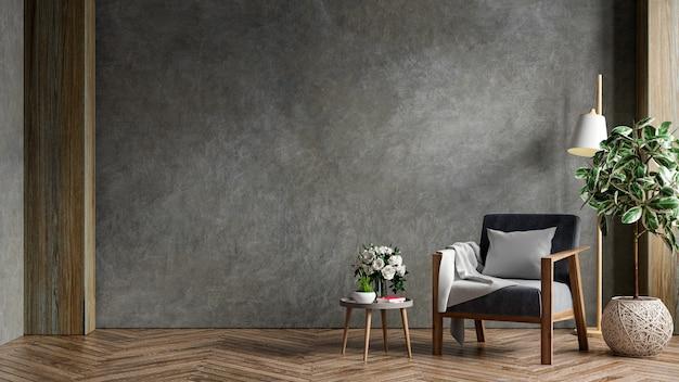 Interior de la sala de estar en el apartamento tipo loft con sillón, muro de hormigón. representación 3d
