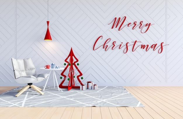 Interior de la sala de estar con el árbol de navidad y la palabra feliz navidad en la pared