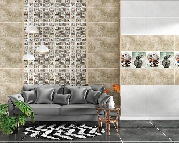 Interior de la sala de estar con azulejo clásico fondo de pared en piso de baldosas de granito negro