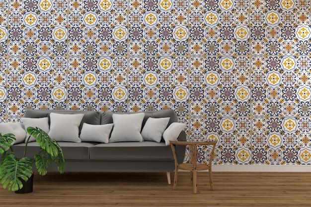 Interior de la sala de estar con azulejo clásico textura pared de fondo