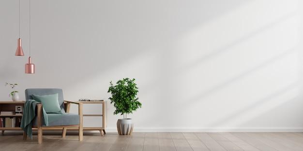 Interior de una sala de estar brillante con sillón sobre fondo de pared blanca vacía.
