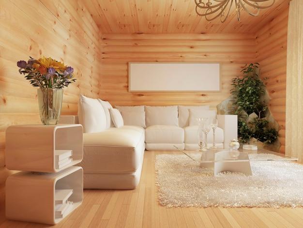 Interior de la sala de estar en una casa de troncos