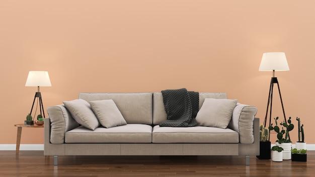 Interior de la sala de estar de color rosa pastel pared de madera piso interior sofá silla lámpara