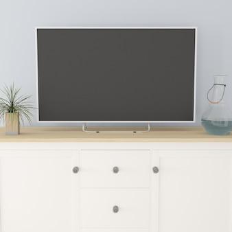 Interior de la sala de estar contemporánea 3d y muebles modernos