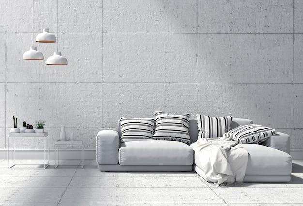 Interior de la sala de estar en estilo moderno, render 3d