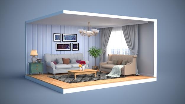Interior de la sala de estar. ilustración 3d