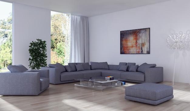 Interior de sala de estar de lujo con decoración y pintura abstracta.