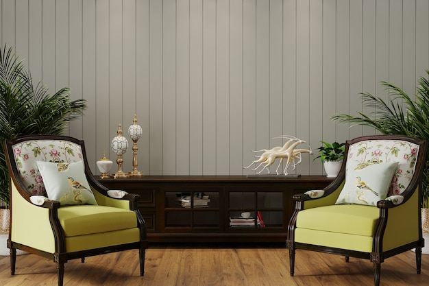Interior de sala de estar de lujo con sillón clásico