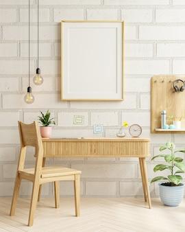 Interior de la sala de estar con marco de maqueta en la mesa de trabajo, pared de ladrillo blanco representación 3d