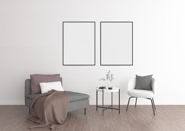Interior de la sala de estar, marcos dobles, exhibición de arte.