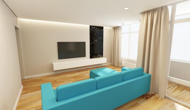 Interior de la sala de estar moderna en tonos claros con tv, sofá esquinero y grandes ventanales